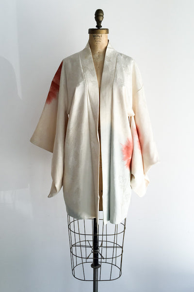 Vintage Silk Short Kimono with Abstract Pattern - One Size