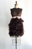 1960s Brown Silk and Ostrich Feather Dress - XS