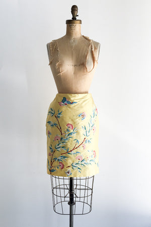 1990s Silk Embroidered Mini Skirt - M