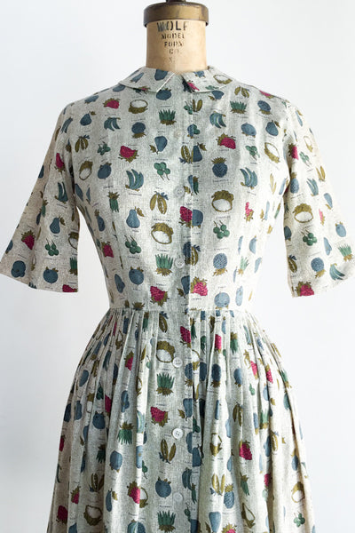1950s Novelty Print Pleated Dress - S