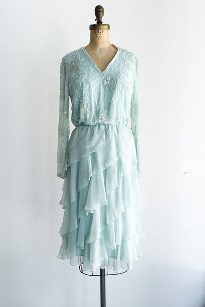 1980s Sky Blue Ruffled Chiffon Beaded Dress - S