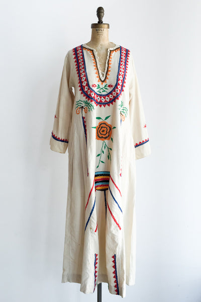1970s Linen Embroidered Kaftan - M/L