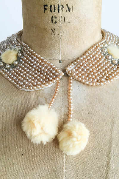 1950s Beaded Collar with Faux Fur Embellishment - One Size
