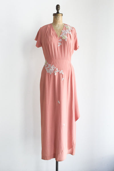 1940s Rose Pink Floral Appliqué Dress - M