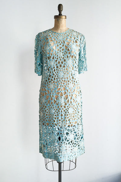 1960s Turquoise Cutout Linen Dress - S/M