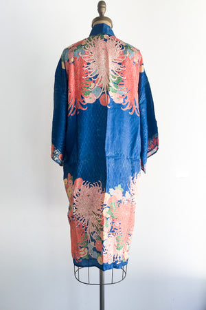 1920s Blue Floral Brocade Robe - One Size