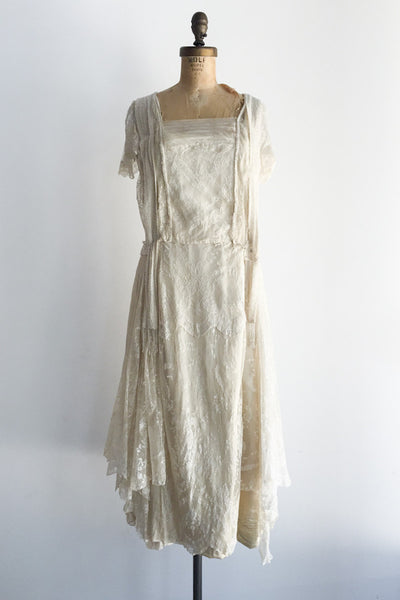 1920s Silk Lace Flapper Dress - S