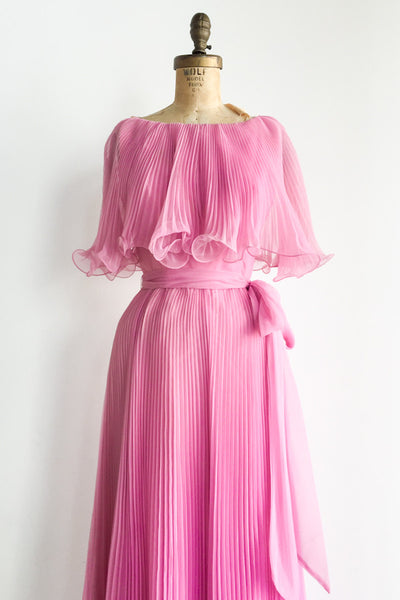 1960s Pink Pleated Chiffon Dress - S
