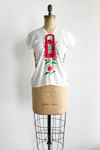 Vintage Linen Embroidered Shirt - XS/S