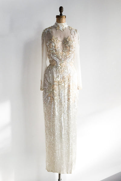 1980s Cream Silk Beaded Gown - S/M