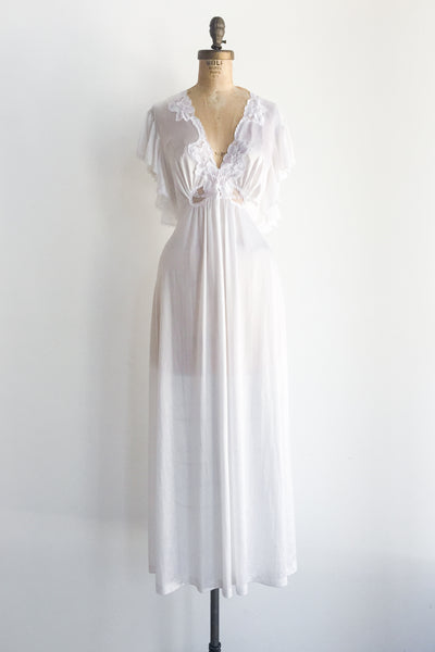 1970s Nylon and Lace Low V-Neck Slip Dress - M/L