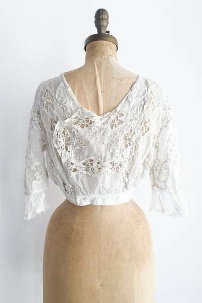 Antique Edwardian Embroidered Top - XS/S