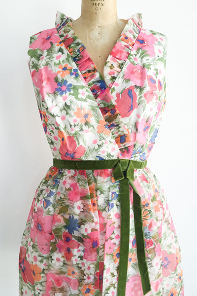 1950s Chiffon Floral Dress - M