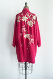 1930/40s Ruby Silk Embroidery Short Kimono - One Size