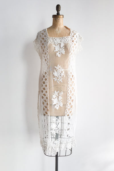 1920s Filet Lace Flapper Dress - S/M