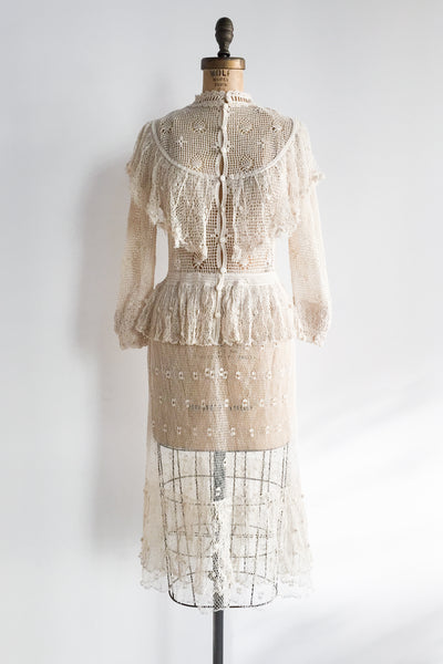 1970s Beige Sheer High Neck Dress - S/M
