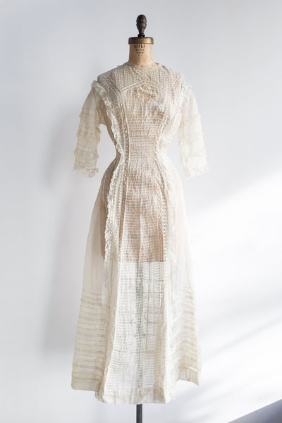 Edwardian Pintucked Silk Organza Gown - XS/S