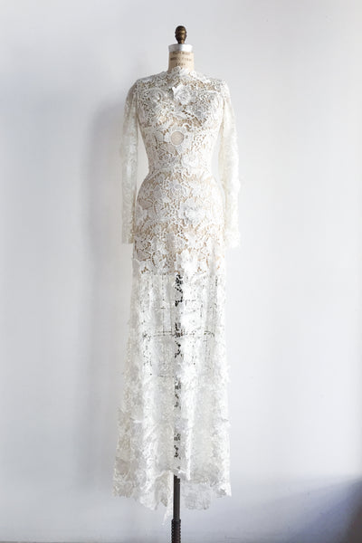 GOSSAMER Ivory Sheer Embroidered Cutout Lace Gown - S