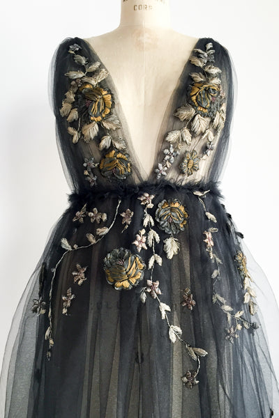 Tulle Gown with Antique Floral Appliques - M