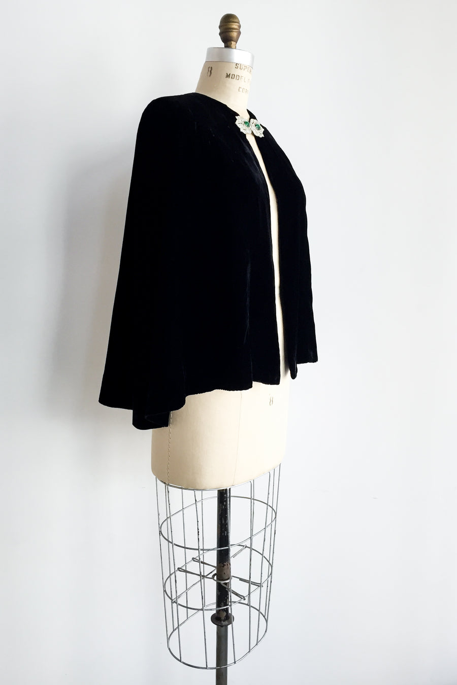1930s Black Silk Velvet Capelet with Rhinestone Closures - One Size