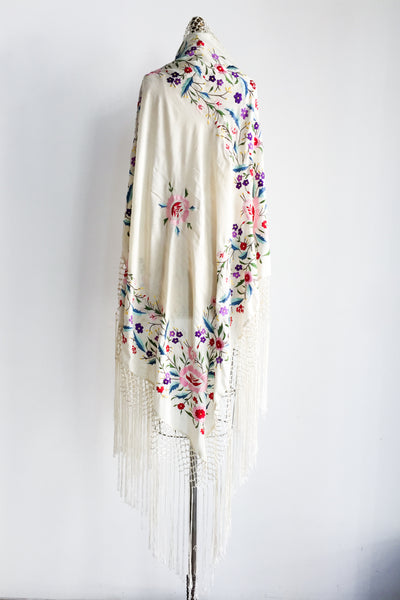 1980s Mary McFadden Silk Piano Shawl - 50x50