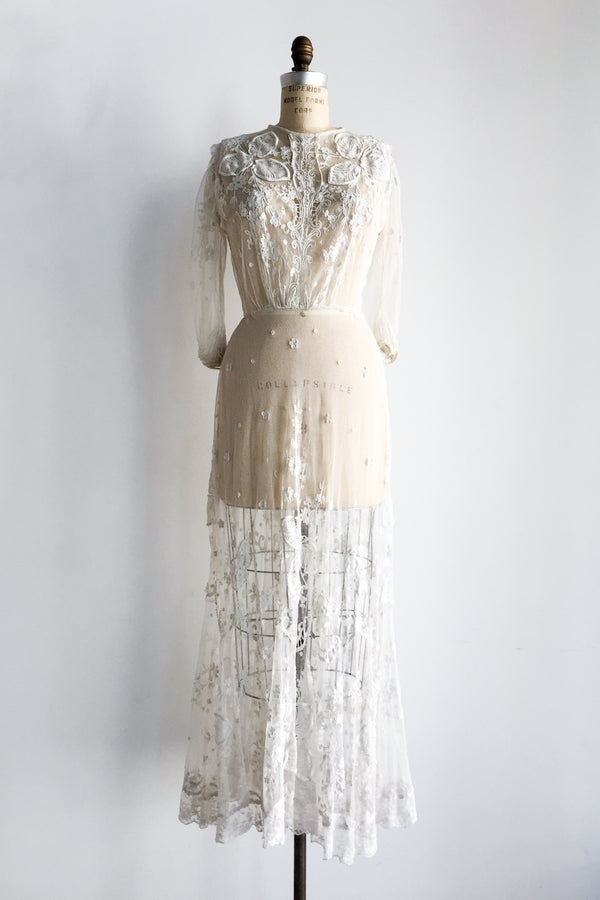 1910s Tambour Lace Gown - S