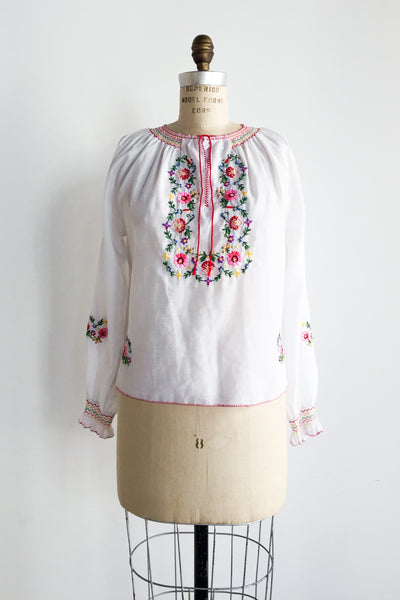 1970s Cotton Embroidered Long Sleeve Top - M