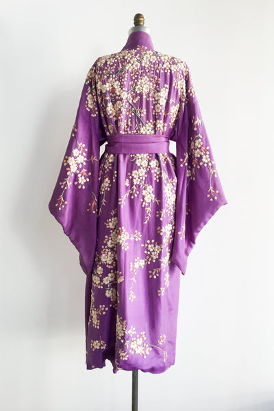 RARE Antique Purple Silk Embroidered Kimono - One Size