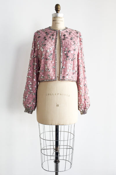 1980s Pink Rayon Sequined Jacket - S/M