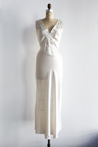 1930s Ivory Silk Embroidered Slip - S