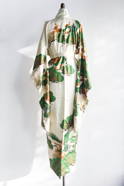 Vintage Silk Long Kimono with Gingko Leaves - One Size