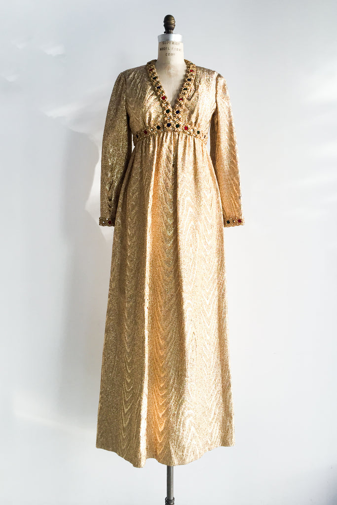 1960s Golden Metallic Empire Gown - S/M | G O S S A M E R