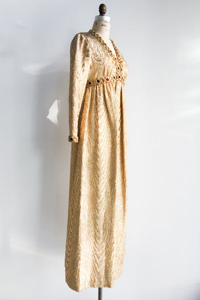 1960s Golden Metallic Empire Gown - S/M