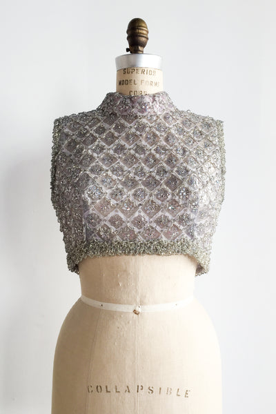 Vintage Pewter/Lavender Beaded Cropped Bodice - M