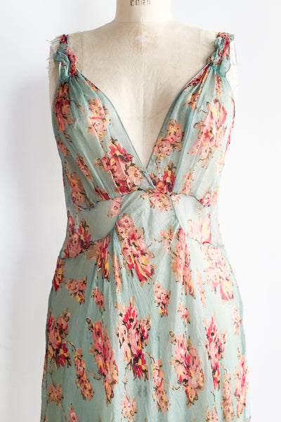 1980s Silk Deep V-Neck Bias Floral Dress - M