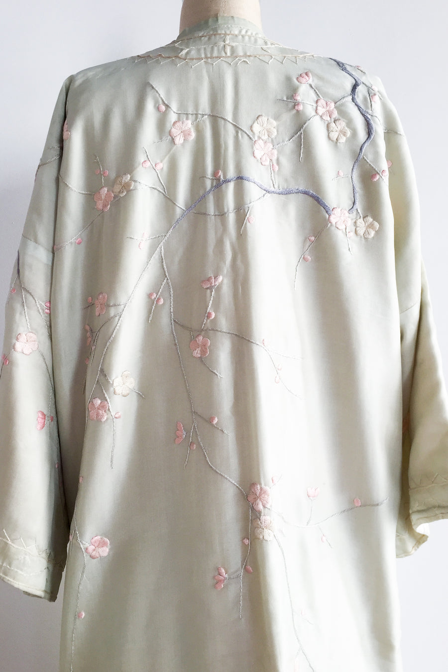 1910s/20s Light Green Embroidered Robe - One Size