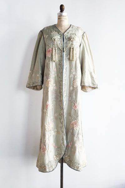 Antique Light Seafoam Edwardian Embroidered Robe - M