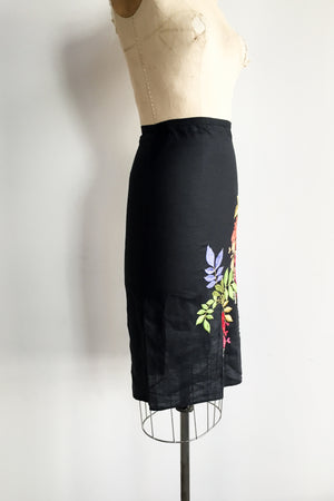 1980s Embroidered Linen Pencil Skirt - XS/S
