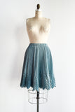Vintage Satin Pleated Powder Blue Short Geometric Skirt - S/M