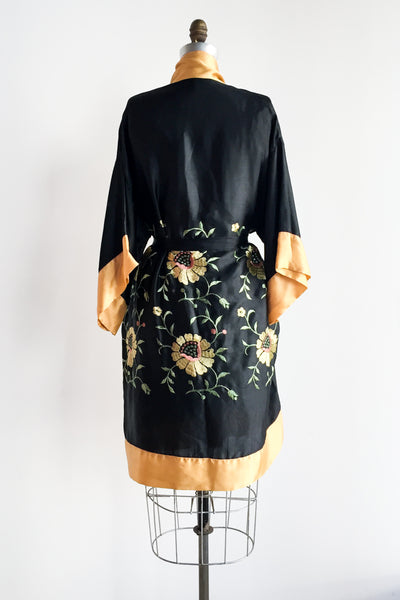 1920s Satin/Rayon Embroidered Duster - One Size