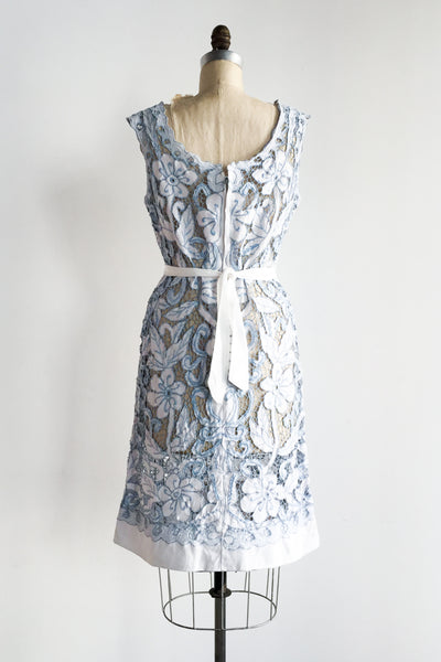 1960s Blue Linen Cutout Dress - M/L