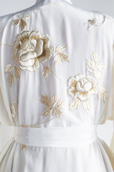 RARE 1950s Ivory Rayon Embroidered Kimono - One Size SOLD