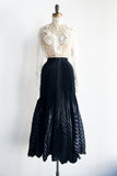 1980s Black Satin Poly Geometric Pleated Skirt - M/L