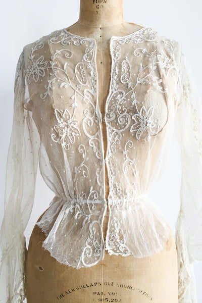 Antique Ecru Embroidered Tambour Lace Top - XS/S