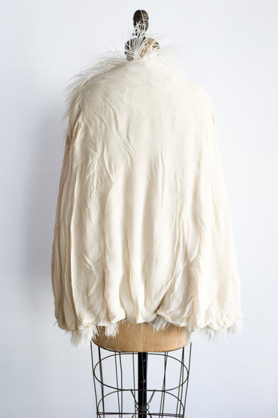 1950s Ivory Ostrich Feather Jacket with Silk Lining - M