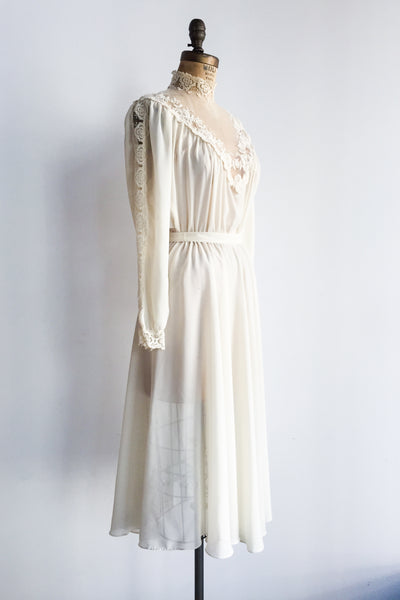 1970s Chiffon Poet Sleeves Dress - S/M