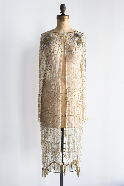 1980s Ivory and Gold Silk Beaded Duster - M