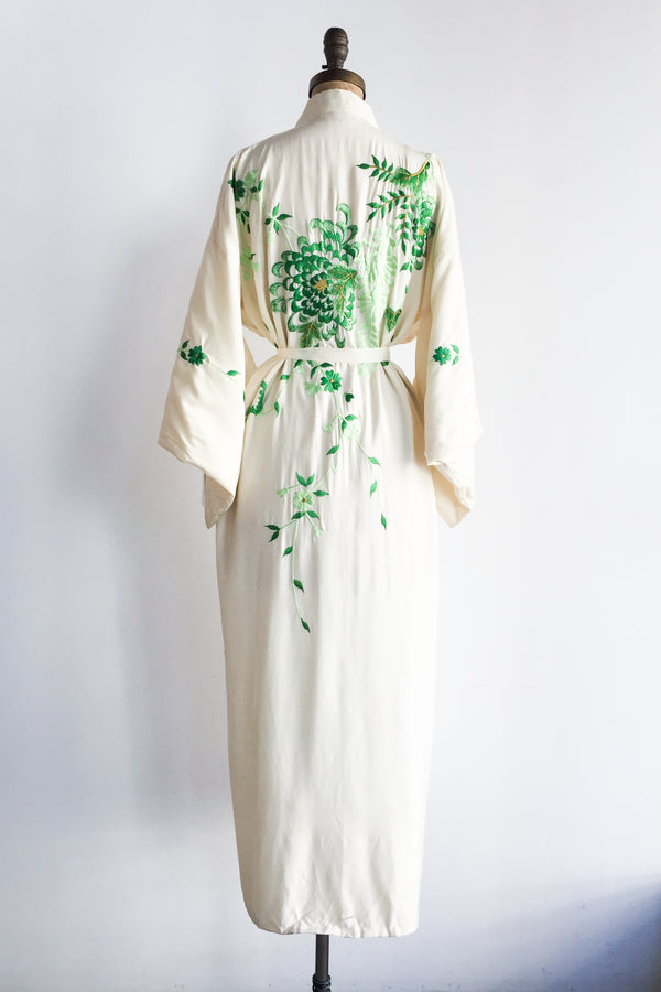 1940s Ivory Silk Kimono with Floral Embroidery - One Size