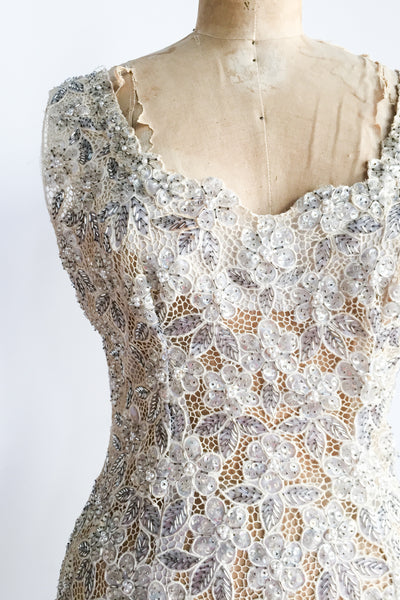 1950s/60s RARE Cutout Lace Beaded Dress - S/M