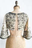 1960s Raw Silk and Heavily Beaded Crop Top - XXS/XS
